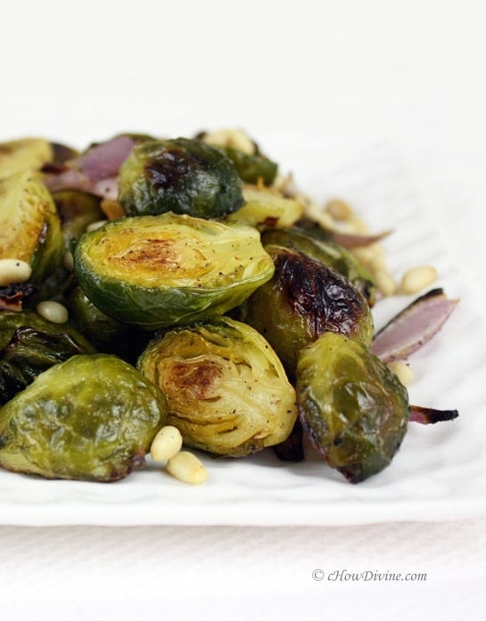 Roasted Brussels Sprouts with Pine Nuts and Balsamic Drizzle | cHowDivine.com