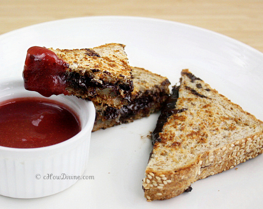 Grilled Cheese and Dark Chocolate Sandwich with Strawberry Dipping ...