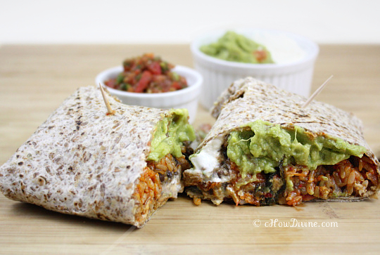 kimchi fried rice and creamy black bean burrito
