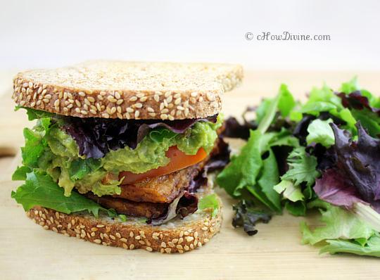 tlt sandwich tempeh bacon lettuce and tomato urban vegan