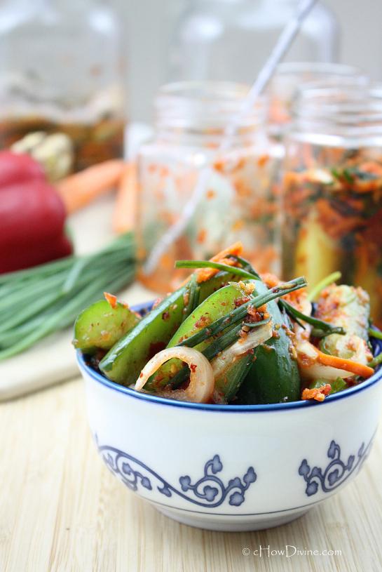 Cucumber Kimchi (Oi Kimchi) | cHowDivine.com