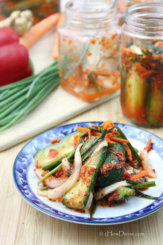 Quick and Easy Cucumber Kimchi (Oi Kimchi) - cHow Divine...cHow Divine ...
